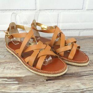 GAP sz 8 vachetta leather brown strappy sandals